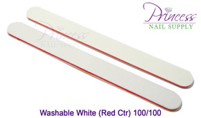 Princess Nail Files - 50 per pack - Washable White/Red - Grit: 100/100