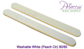 Princess Nail Files - 50 per pack - Washable White/Peach - Grit: 80/80