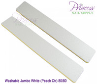Princess Nail Files - 50 per pack - Washable Jumbo White/Peach - Grit: 80/80