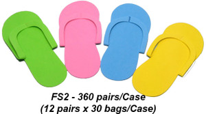 Notched Toe Foam Pedicure Slippers - Case of 360 Pairs - FS2 (Sew Type)