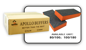 Slim Buffer - Orange/Black - 100/180 Grit (Case/500 pcs)
