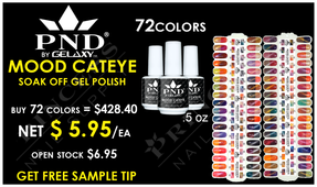 PND Mood Cateye Gel Polish .5 oz - Complete Set - 72 Colors (#01-#72) - GET FREE 1 SAMPLE TIP SET