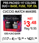 Cuccio Match Makers - Pre-Packed 117 Colors + Base, Fuse, Top, Oil  (Clearance - No Return)