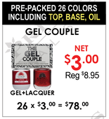 Gel Couple - Pre-Packed 26 Duo Including Top + Base + Oil (Clearance - No Return)