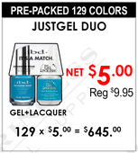 JustGel Duo (It's a Match) - Pre-Packed 129 Colors (Clearance - No Return)