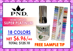 PND Super Platinum Soak Off Gel .5 oz - Complete Set - 18 Colors (A01-A18) GET FREE SAMPLE TIP