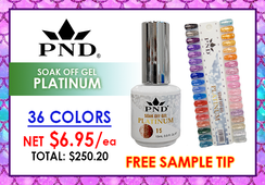 PND Platinum Soak Off Gel .5 oz - Complete Set - 36 Colors (P01-P36) GET FREE SAMPLE TIP