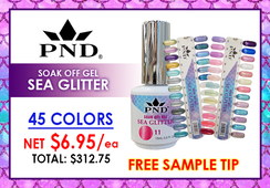 PND Sea Glitter Soak Off Gel .5 oz - Complete Set - 45 Colors (SG01-SG45) GET FREE SAMPLE TIP