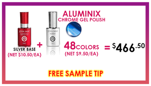 Joya Mia Aluminix Chrome Gel .5 oz - Set - 1 Silver Base + 48 Colors (MX01-MX24,ALX25-ALX48)