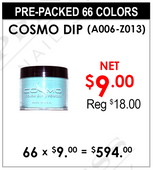 Cosmo Dip Powder (A006-Z013) - Pre-Packed 66 Colors (Clearance - No Return)