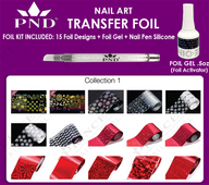 PND Transfer Foil Kit(15designs)+Nico Foil Activator Gel+Nail Pen Silicone Collection #1