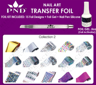 PND Transfer Foil Kit(15designs)+Nico Foil Activator Gel+Nail Pen Silicone Collection #2