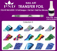 PND Transfer Foil Kit(15designs)+Nico Foil Activator Gel+Nail Pen Silicone Collection #5
