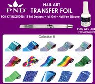 PND Transfer Foil Kit(15designs)+Nico Foil Activator Gel+Nail Pen Silicone Collection #5