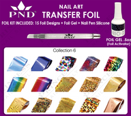 PND Transfer Foil Kit(15designs)+Nico Foil Activator Gel+Nail Pen Silicone Collection #6