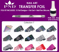 PND Transfer Foil Kit(15designs)+Nico Foil Activator Gel+Nail Pen Silicone Collection #7