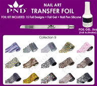 PND Transfer Foil Kit(15designs)+Nico Foil Activator Gel+Nail Pen Silicone Collection #9
