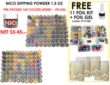 Nico Dipping Powder 1.5 oz - Pre-packed- 160 Colors (D001-D160) FREE:(value $119.40) BLANK SAMPLE TIP +11 Foil Kits + FOIL ACTIVATOR GEL