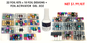 83% Off Nico Nail Foil Pre-packed: 16 kits #1 - #22(N/A: #4,8,10,13, 14,20) (10designs/kit), FREE 1 Foil Activator Gel .5oz (value$9.95)