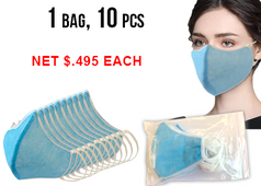 Non-Woven 4Ply Face Mask - Multi-use by washing 10pcs/bag