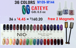 NICo Cateye 3D Gel Polish 36 colors #109-144 FREE 2 MAGNETS + SAMPLE TIP SET