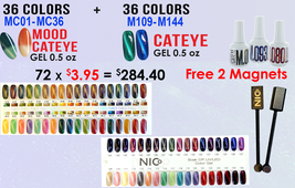 NICo Gel Polish 36 Cateye (#109-144) + 36 Mood Cateye (#01-36) FREE_2MAGNETS+2Blank TIPS