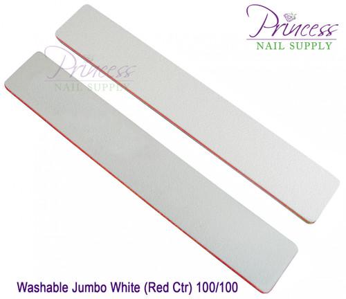 Princess Nail Files - 50 per pack - Washable Jumbo White/Red - Grit: 100/100