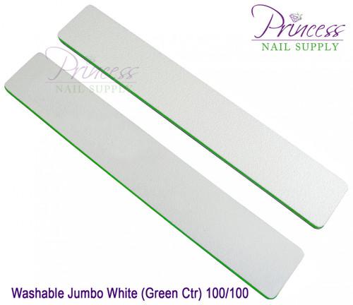 Princess Nail Files - 50 per pack - Washable Jumbo White/Green - Grit: 80/100
