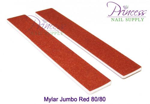 Princess Nail Files - 50 per pack - Mylar Jumbo Red - Grit: 80/80