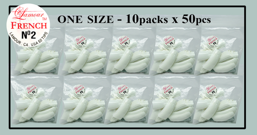 Lamour French Tip One Size - 10 Packs (50 per pack) Size #2