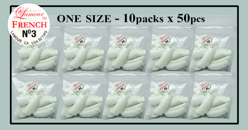 Lamour French Tip One Size - 10 Packs (50 per pack) Size #3