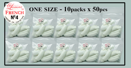 Lamour French Tip One Size - 10 Packs (50 per pack) Size #4