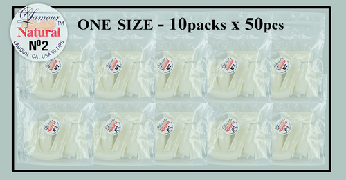 Lamour Natural Tip One Size - 10 Packs (50 per pack) Size #2