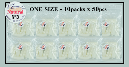 Lamour Natural Tip One Size - 10 Packs (50 per pack) Size #3