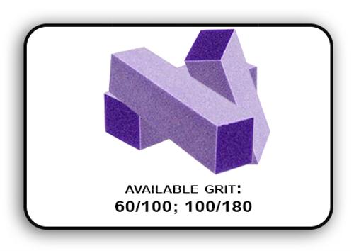Buffer Block 3 Way - Purple/White -  100/180 Grit (Pack/20 pcs)