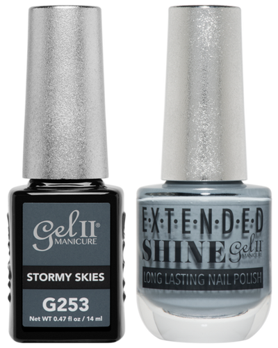 Gel II + Matching Extended Shine Polish - G253 & ES253 - STORMY SKIES