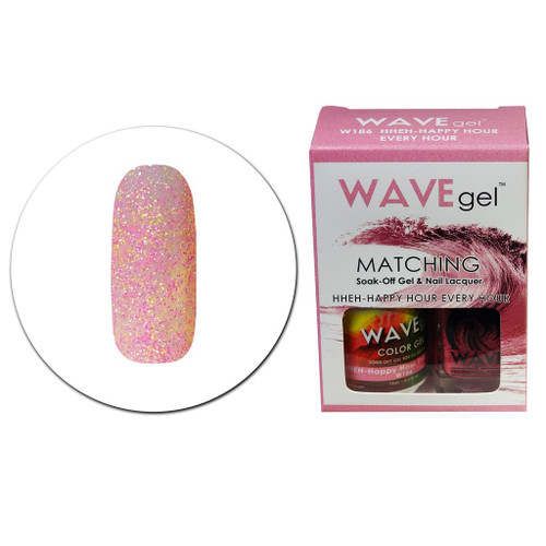 WaveGel Matching S/O Gel & Nail Lacquer - W186 HHEH-HAPPY HOUR EVERY HOUR .5 oz