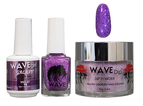 WAVE GALAXY 3 in 1 - COMBO SET (GEL+ LACQUER+ POWDER) - #8 Violet