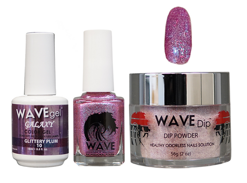 WAVE GALAXY 3 in 1 - COMBO SET (GEL+ LACQUER+ POWDER) - #10 Glittery Plum