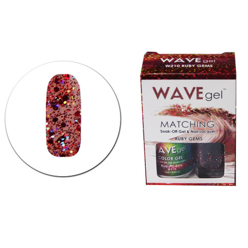 WaveGel Matching S/O Gel & Nail Lacquer - W210 Ruby Gems .5oz
