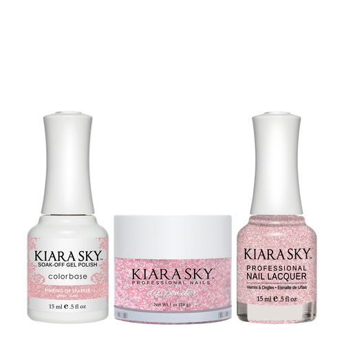Kiara Sky 3in1(GEL+LQ+Dip) - #496 PINKING OF SPARKLE (GLITTER)