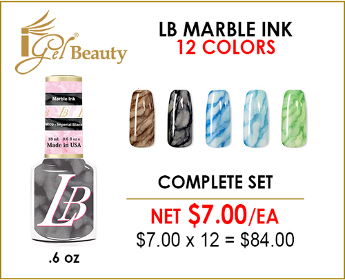 LB Marble Ink .6 oz - Complete Set - 12 Colors (#MI01-#MI12)