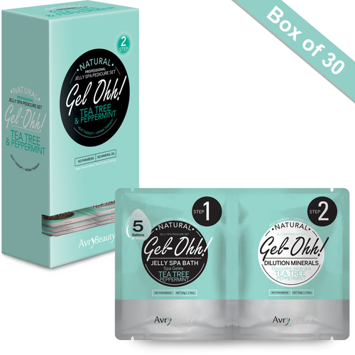 Avry GEL-OHH! Natural Jelly Spa Pedicure Set - TEA TREE & PEPPERMINT - Box/30 sets