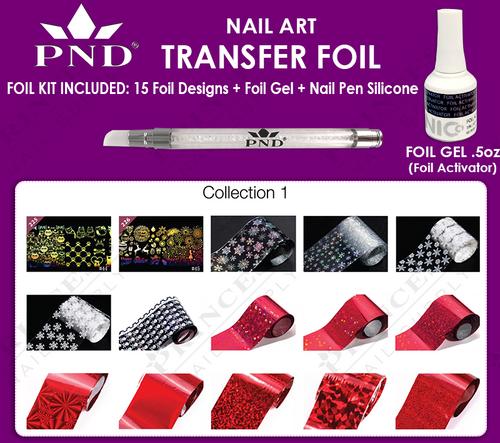 PND Transfer Foil Kit(15designs)+Nico Foil Activator Gel+Nail Pen Silicone Collection #1