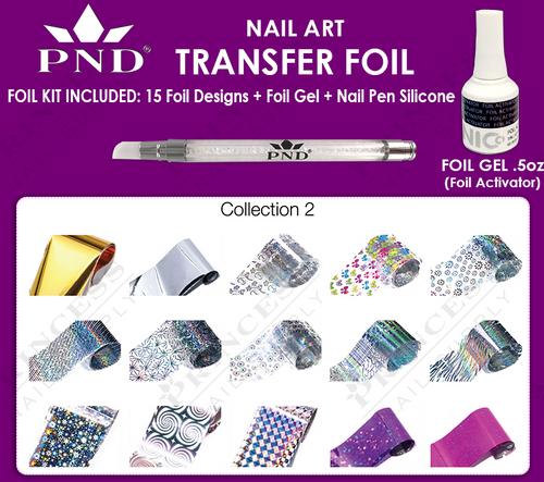 PND Transfer Foil Kit(15designs)+Nico Foil Activator Gel+Nail Pen Silicone Collection #2