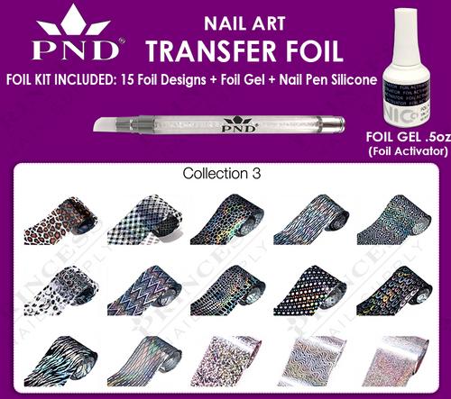 PND Transfer Foil Kit(15designs)+Nico Foil Activator Gel+Nail Pen Silicone Collection #3