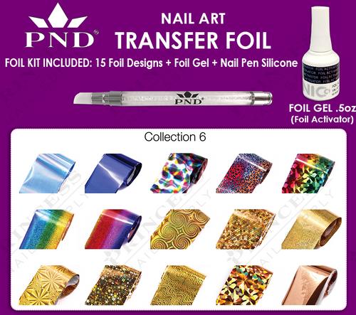 PND Transfer Foil Kit(15designs)+Nico Foil Activator Gel+Nail Pen Silicone Collection #6