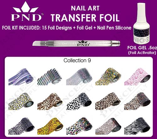 PND Transfer Foil Kit(15designs)+Nico Foil Activator Gel+Nail Pen Silicone Collection #9