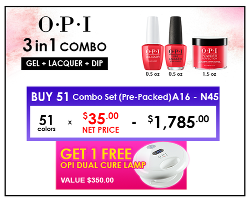 OPI COMBO 3 in 1 Matching - 51 Combo Set (A16-N45) - GET FREE 1 OPI DUAL CURE LAMP