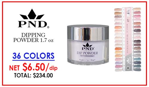 PND Dipping Powder 1.7 oz - Complete Set - 36 Colors (E01-E36) GET FREE SAMPLE TIP